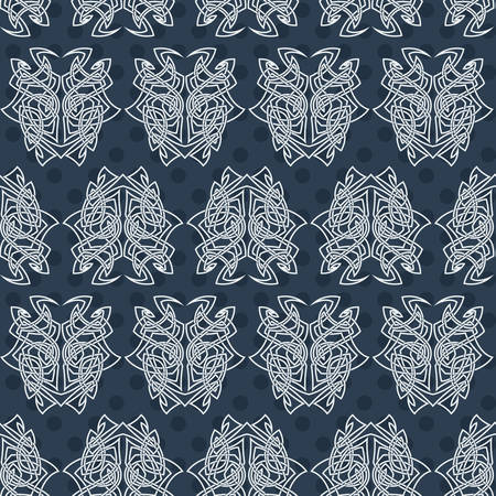 gothic style: Elegant difficult curled ornamental gothic tattoo seamless pattern. Celtic style. Maori. Weaving. Colored image.