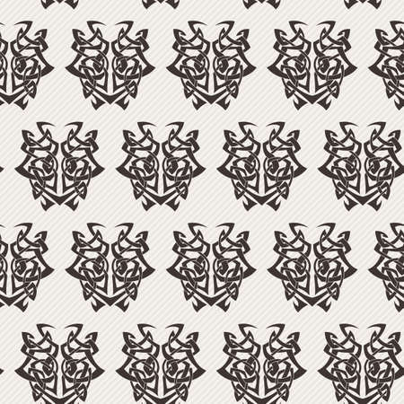 cult: Elegant difficult curled ornamental gothic tattoo seamless pattern. Celtic style. Maori. Weaving. Monochrome image.