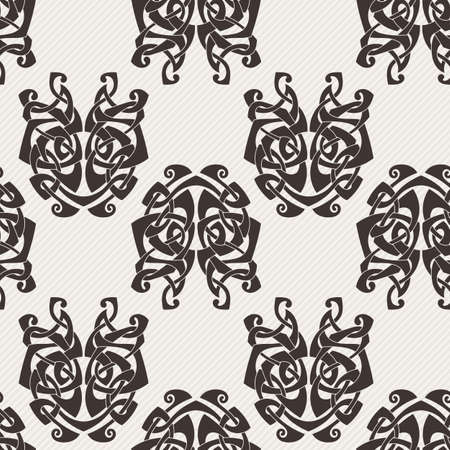 gothic style: Elegant difficult curled ornamental gothic tattoo seamless pattern. Celtic style. Maori. Weaving. Monochrome image.