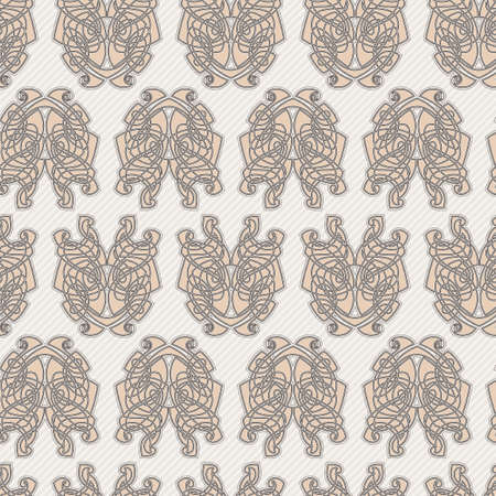 Elegant difficult curled ornamental gothic tattoo seamless pattern. Celtic style. Maori. Weaving. Colored image.