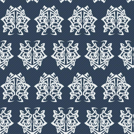 difficult: Elegant difficult curled ornamental gothic tattoo seamless pattern. Celtic style. Maori. Weaving. Colored image.