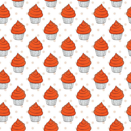 muffins: Vector Muffins Seamless Pattern. Cakes, Sweets.