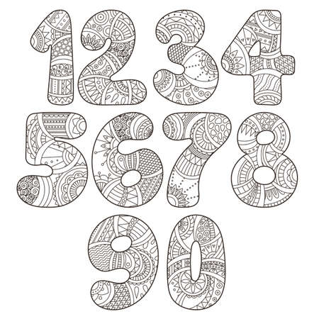 Zentangle numbers set. Collection of doodle numbers with zentangle elements. Vector illustration can be used for web design, booklets, print cards, textile t-shirts, print elements and other.