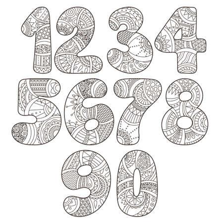 nombres: Zentangle nombres r�gl�s. Collection de num�ros de griffonnage avec des �l�ments zentangle. Vector illustration peut �tre utilis� pour la conception web, brochures, cartes d'impression, textiles t-shirts, des �l�ments d'impression et autres.