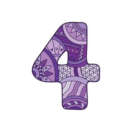 nombres: Numéro Zentangle. Vecteur nombre décoratif peut être utilisé pour la conception web, imprimer des cartes, des brochures, des dépliants, textiles t-shirts et d'autres.
