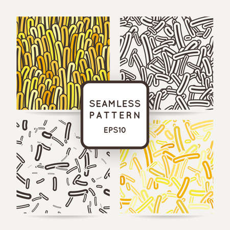 bacilli: Set of four seamless vector patterns of amoebae and other protozoa bacilli. Patterns with seaweeds, anemones or worms.
