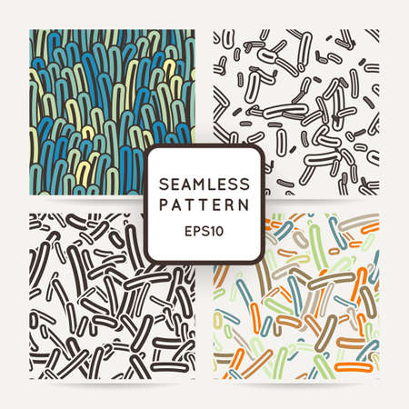 seaweeds: Set of four seamless vector patterns of amoebae and other protozoa bacilli. Patterns with seaweeds, anemones or worms.