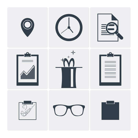 accounting design: Set of flat vector icons: clock, magic, glasses, serach and other. Monochrome icons.