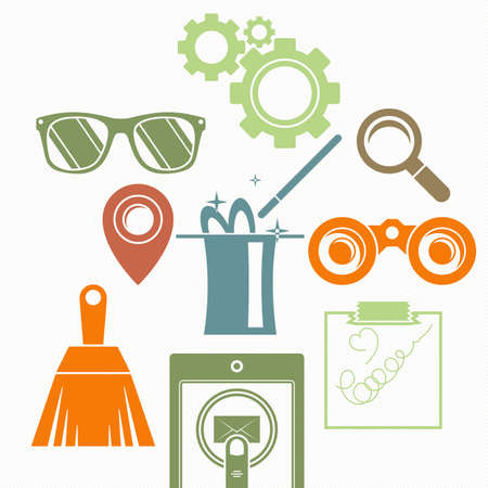 graphic icon: Vector background with a composition: the magic cylinder, binoculars, magnifying glass, brush, goggles, gears and other.