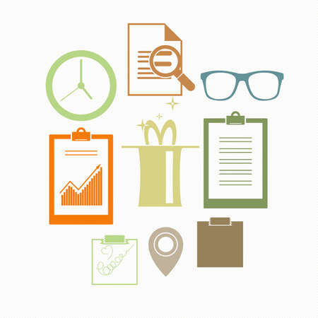 Vector background with a composition of a variety of flat icons: time, glasses, magic, point, lense.