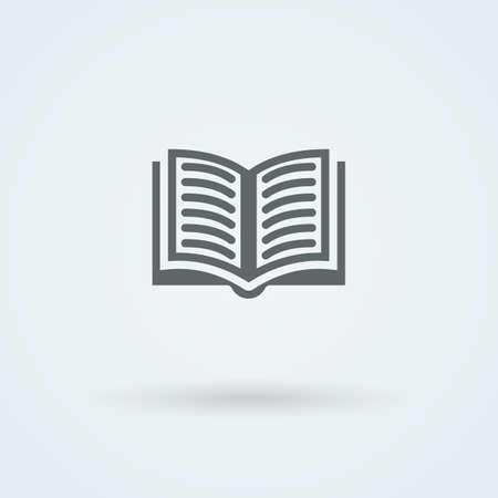 ebook cover: Simple vector open book icon. Logo. Pictogram. Button. Illustration