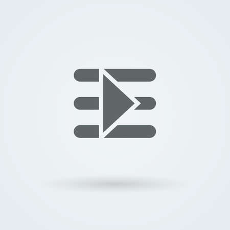 start button: Simple, minimalist start button on the symbol indicates text. Logo. Pictogram. Button. Illustration