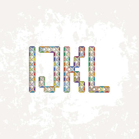 embroidered: Set of four colorful knitted, embroidered or macrame capital letters of the Latin alphabet. I, J, K and L.