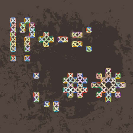 embroidered: Set of multicolored knitted, embroidered macrame or punctuation.