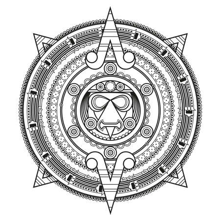 gods: Patterned circle in the style of the Maya. Vector illustration