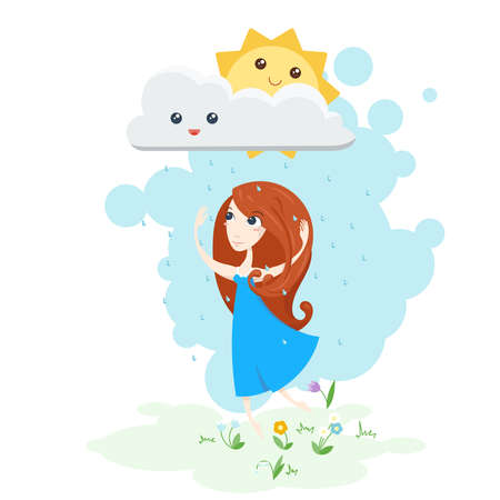 girl in rain: Illustration of a beautiful girl dancing in the rain and the sun smiling. Kawaii sun. Stock Photo