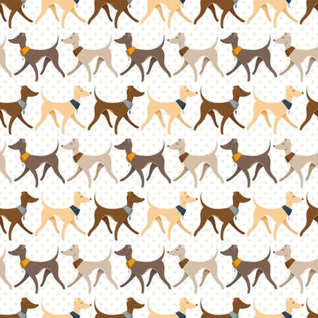 Seamless Pattern with Pretty Walking Italian Greyhounds.