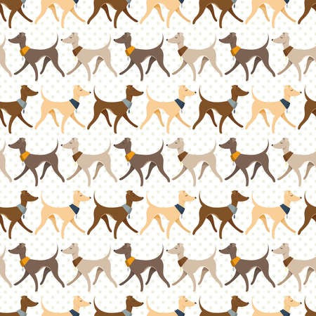 Seamless Pattern with Pretty Walking Italian Greyhounds.