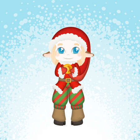 mythical festive: Cute and embarrassed Christmas deer-elf. New Year Illustration.