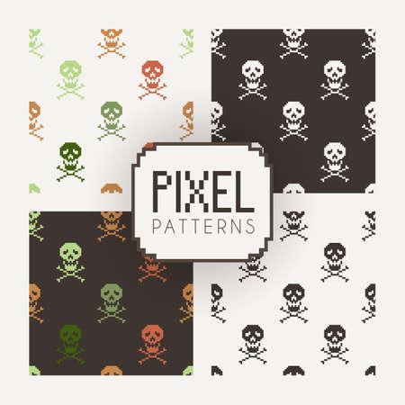 8bit: Set of vector seamless colorful and monochrome patterns of pixel skulls. Illustration