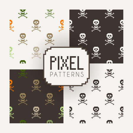 pixelart: Set of vector seamless colorful and monochrome patterns of pixel skulls. Illustration