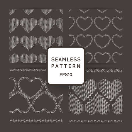 measured: Set of vector seamless patterns with embroidered hearts and border embroidered with a cross. Embroidery. Macrame.