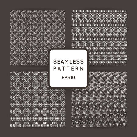 braided: Set of vector seamless patterns with crossed and braided cords. Tying. Macrame. Illustration