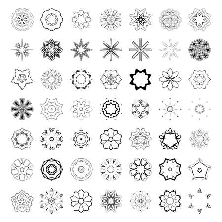squiggles: Vector set of abstract floral and circular patterns. Mandalas. Japanese emblems. Flowers. Seal.