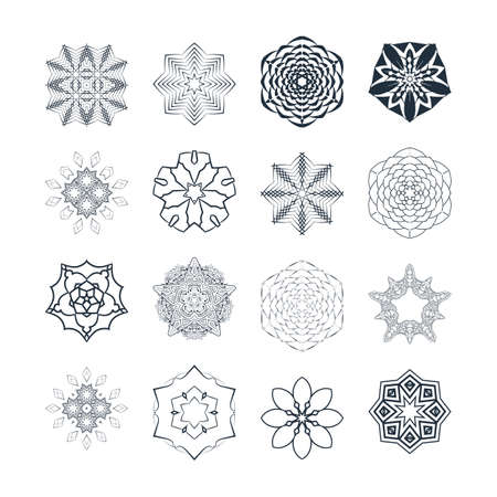 workpiece: Vector set of abstract floral and circular patterns. Mandalas. Japanese emblems. Flowers. Seal.