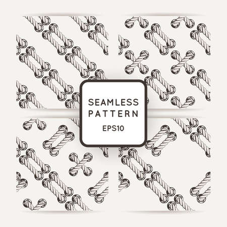 measured: Set of vector seamless patterns with crossed and braided cords. Tying. Macrame. Illustration