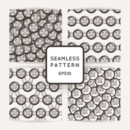 measured: Set of vector seamless patterns with buttons. Illustration
