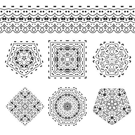 workpiece: Vector set of abstract floral and circular patterns and borders. Mandalas. Japanese emblems. Flowers. Seal.