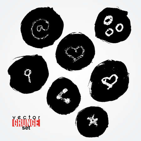 routed: Set of vector routed spots with key symbol, heart, at. Blots. Grunge. Illustration