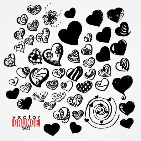 allegory painting: Set of vector ink hearts. Blots. Grunge. Vortex.