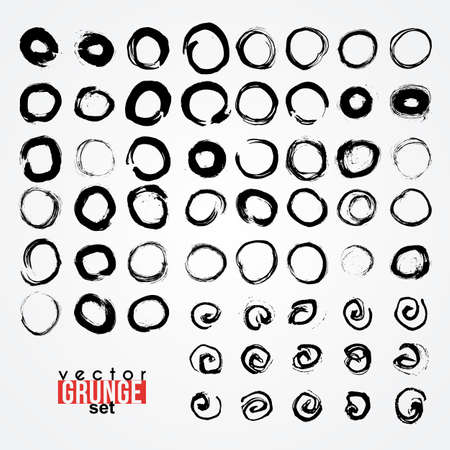 traced: Set of grunged traced circles by painbrush and ink Illustration
