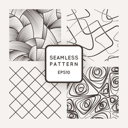 Set of geometric vector seamless patterns