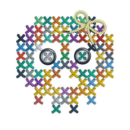 lacing: Vector illustration with the image of color knit, woven, embroidered skull with eye-buttons. Macrame. Illustration