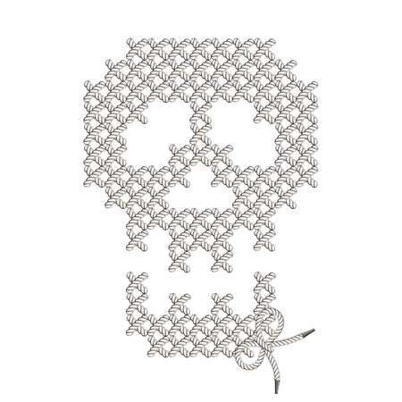 hazard stripes: Vector illustration with the image of knit woven, embroidered skull. Macrame. Illustration