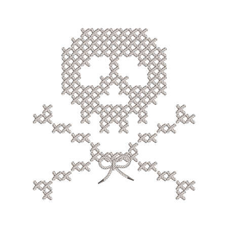 Illustration with the image of knit woven, embroidered skull. Macrame.