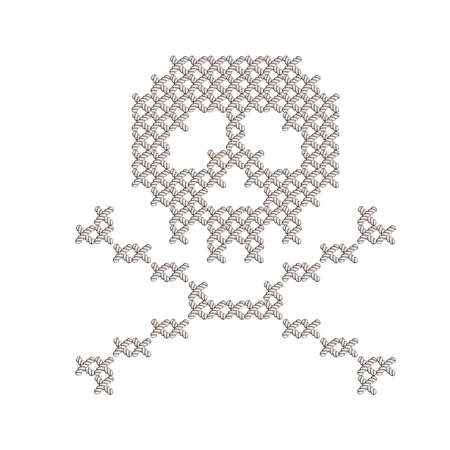 knit: Illustration with the image of knit woven, embroidered skull. Macrame.