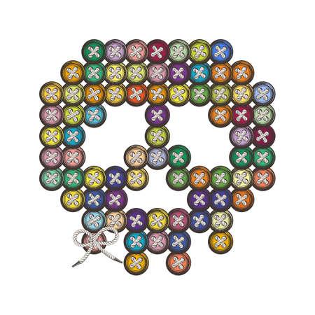 sewn: Decorative multi-colored skull sewn round buttons. Illustration