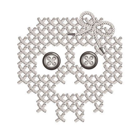 lacing: Vector illustration with the image of knit, woven, embroidered skull with eye-buttons. Macrame.