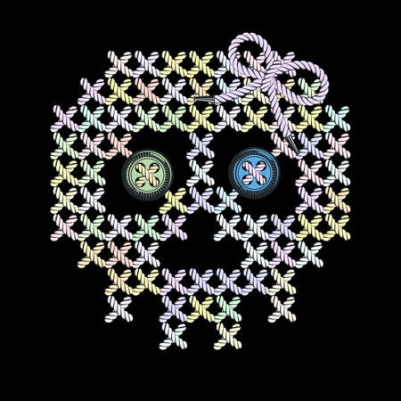 hazard stripes: Vector illustration with the image of color knit, woven, embroidered skull with eye-buttons. Macrame. Illustration