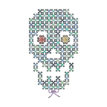 hazard stripes: Vector illustration with the image of color knit, woven, embroidered skull. Macrame.