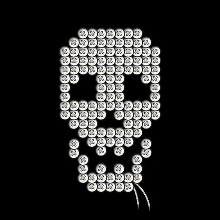 sewn: Decorative skull sewn round buttons.