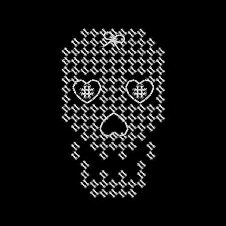 interweaving: Vector illustration with the image of knit woven, embroidered skull. Macrame. Illustration