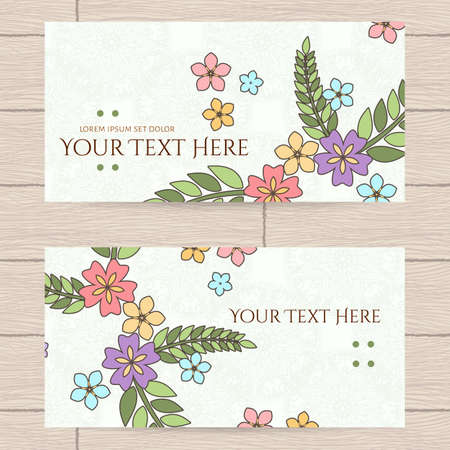 japanese apricot: Vector design of business cards with Japanese flowers and leaves.