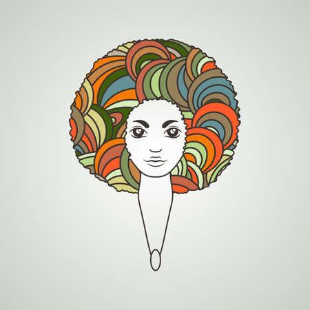 Retrato de una mujer con el pelo exuberante en el estilo de un africano. Vector. Los patrones en el cabello.