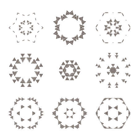 squiggles: Vector set of abstract floral and circular patterns. Mandalas. Japanese emblems. Flowers. Seal.