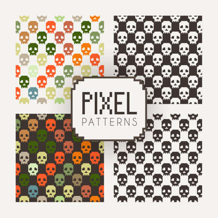 pixelart: Set of vector seamless colorful and monochrome patterns of pixel skulls. Stock Photo